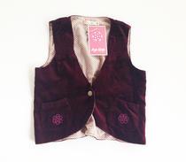 Aya Naya burgundy red velvet vest
